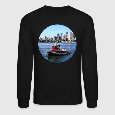 Philadelphia PA - Tugboat by Philadelphia Skyline - Crewneck Sweatshirt