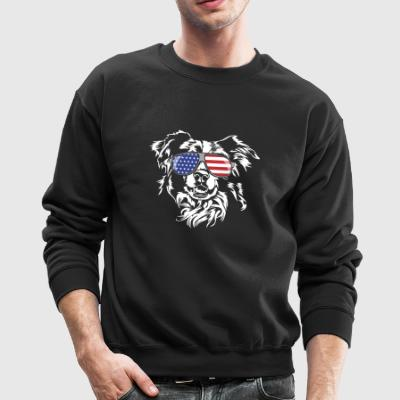 BORDER COLLIE with America Flag Sunglasses - Crewneck Sweatshirt