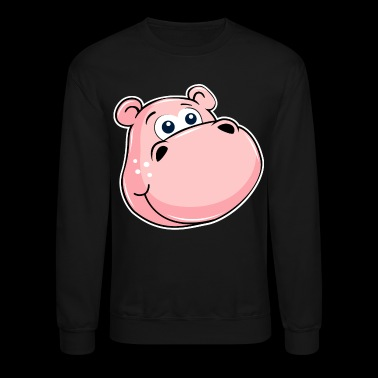 Pink Hippo With Big Eyes - Crewneck Sweatshirt