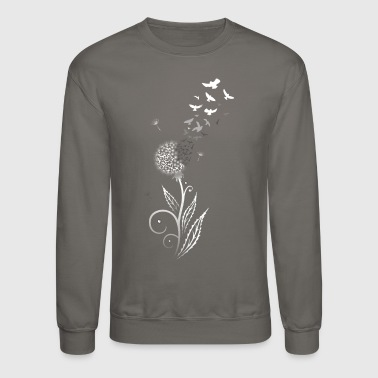 Filigree dandelion with flying birds. - Crewneck Sweatshirt