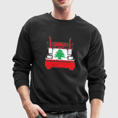 Lebanese Trucker Shirt Lebanon Flag Long Haul Trucker - Crewneck Sweatshirt