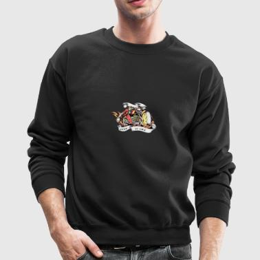 skull on motocycle with head on hand burn to ride - Crewneck Sweatshirt