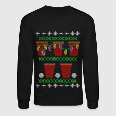 Beer Pong Ugly Christmas Sweater - Crewneck Sweatshirt