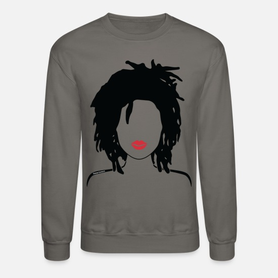 Natural Hoodies & Sweatshirts - Locs & Lipstick_Global Couture Women's T-Shirts - Unisex Crewneck Sweatshirt asphalt gray