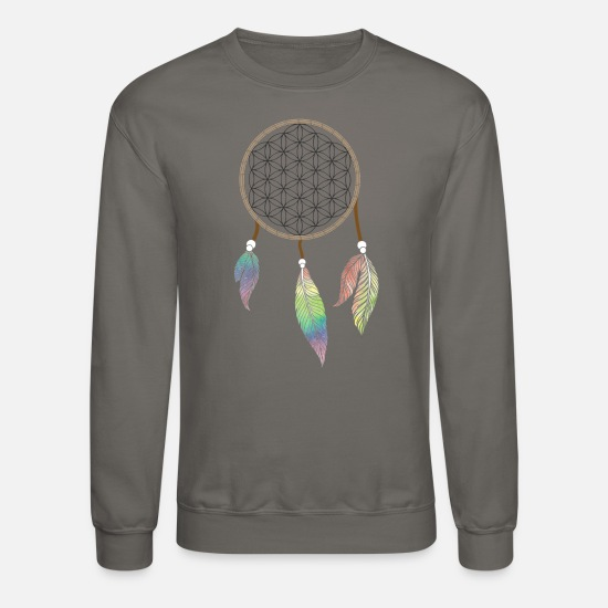 Dream Catcher Hoodies & Sweatshirts - Flower of life Flower of life as a dream catcher - Unisex Crewneck Sweatshirt asphalt gray