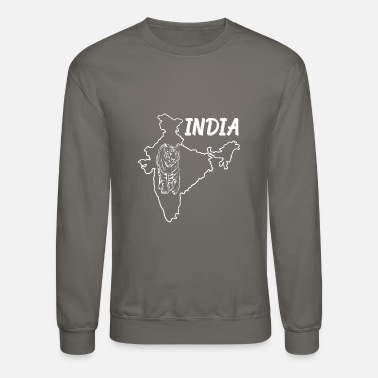 New Delhi Mumbai Bengaluru Chennai Hyderabad India Country Map And Benegal Tiger - Unisex Crewneck Sweatshirt