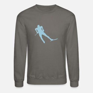 Nordic Skiing nordic combined ski background silhouett - Unisex Crewneck Sweatshirt