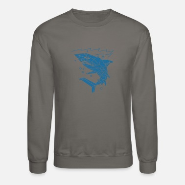 Polygon Shark Blue Ocean Funny - Unisex Crewneck Sweatshirt