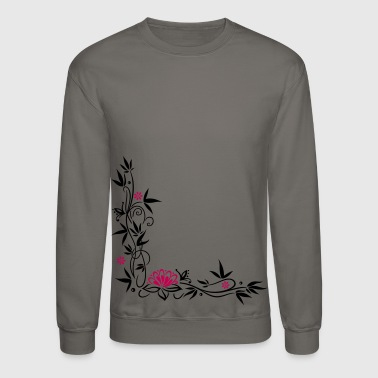 Bamboo with small blossoms and lotus flower. - Crewneck Sweatshirt