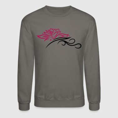 Tantra Large lotus flower with small tribal. - Crewneck Sweatshirt