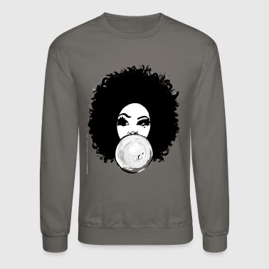 Curly Afro Pretty Girl Bubble Gum Poppin T-Shirt - Crewneck Sweatshirt