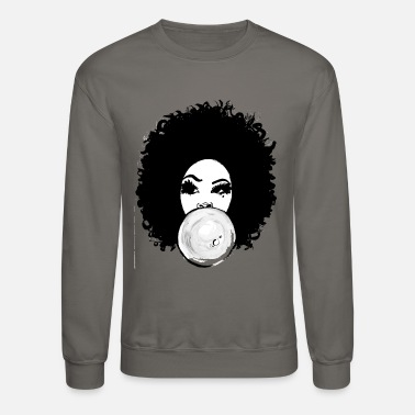 Afro Curly Afro Pretty Girl Bubble Gum Poppin T-Shirt - Crewneck Sweatshirt