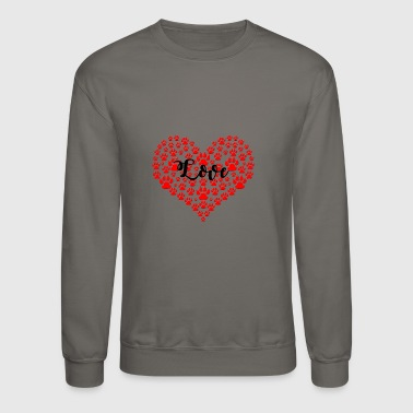 love solid red paw heart - Crewneck Sweatshirt