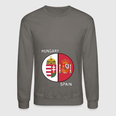 Hungary Spain Hungary Dual Genes or Nationality Crests - Crewneck Sweatshirt