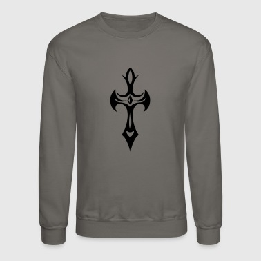 Cross, Crucifix, with gemstone and thorns. - Crewneck Sweatshirt