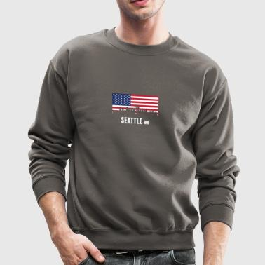 American Flag Seattle Skyline - Crewneck Sweatshirt