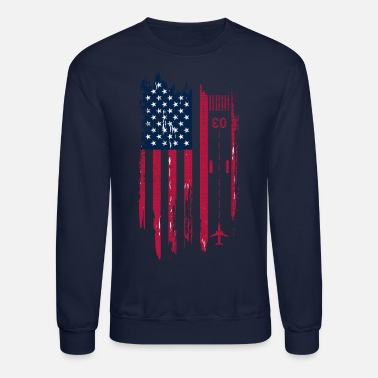 Aviation Patriotic Airplane Aviation Pilot American Flag - Unisex Crewneck Sweatshirt