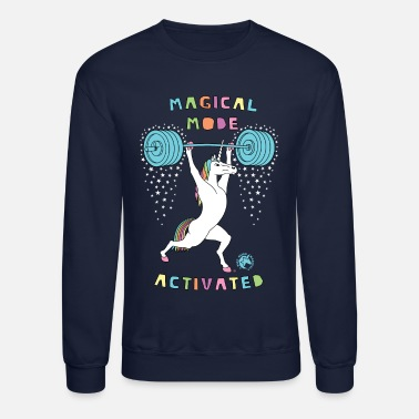 Funny Magical Mode Activated Unicorn Version 2 Outline - Unisex Crewneck Sweatshirt
