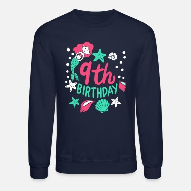 Aged To Perfection 9th Birthday Mermaid Gift For Girls Turning 9 - Unisex Crewneck Sweatshirt