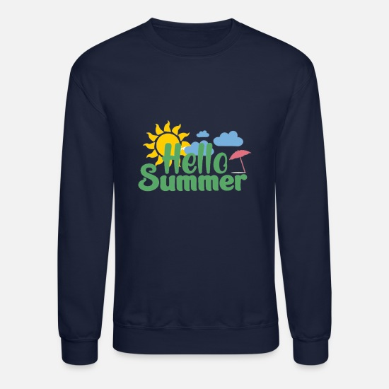 Summer Hoodies & Sweatshirts - Hello Summer - Unisex Crewneck Sweatshirt navy