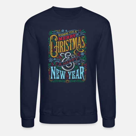 Christmas Hoodies & Sweatshirts - Happy Holidaze - Unisex Crewneck Sweatshirt navy