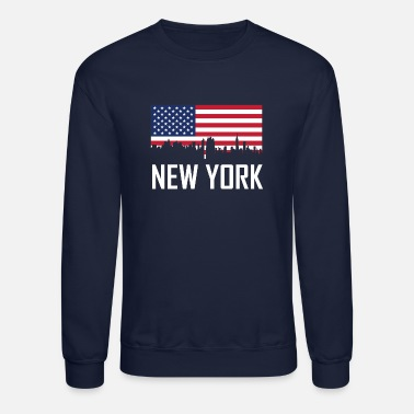 New York City New York City Skyline American Flag - Crewneck Sweatshirt