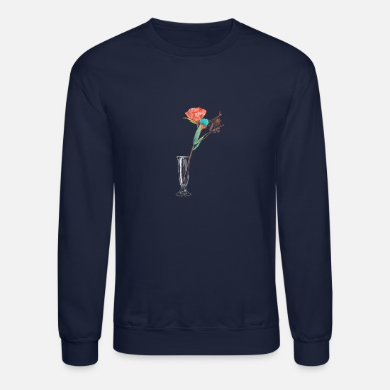 Flowers Hoodies & Sweatshirts - Flowers on Glass - Unisex Crewneck Sweatshirt navy