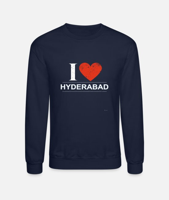 Rastafari Hoodies & Sweatshirts - I Love Hyderabad - Unisex Crewneck Sweatshirt navy