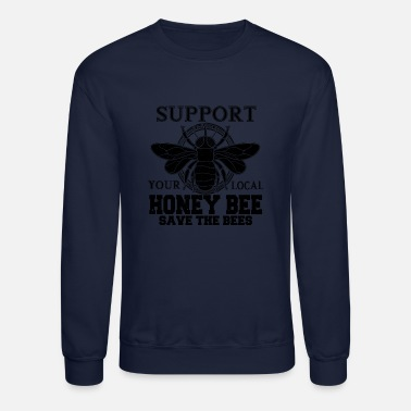 Bee Support Local Honey Bees Retro Design - Unisex Crewneck Sweatshirt