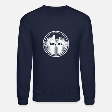 Massachusetts Boston grunge skyline, Massachusetts cityscape - Crewneck Sweatshirt