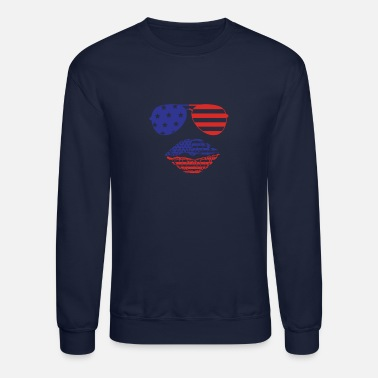 Red White And Blue 4th of July American Sunglasses and Lips Fourth - Unisex Crewneck Sweatshirt