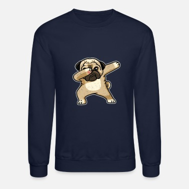 Pug Cute Dabbing Dog in Comic Style - Crewneck Sweatshirt