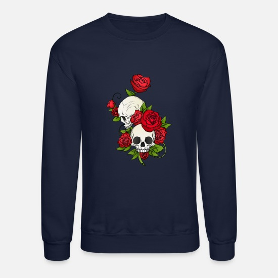 Cool Hoodies & Sweatshirts - SKULLS AND ROSES - Unisex Crewneck Sweatshirt navy
