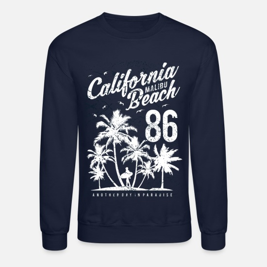 California Hoodies & Sweatshirts - California Malibu Beach - Unisex Crewneck Sweatshirt navy