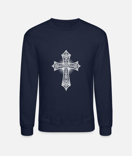 Jesus Hoodies & Sweatshirts - Christianity Cross Religious Prayer Jesus Faith - Unisex Crewneck Sweatshirt navy