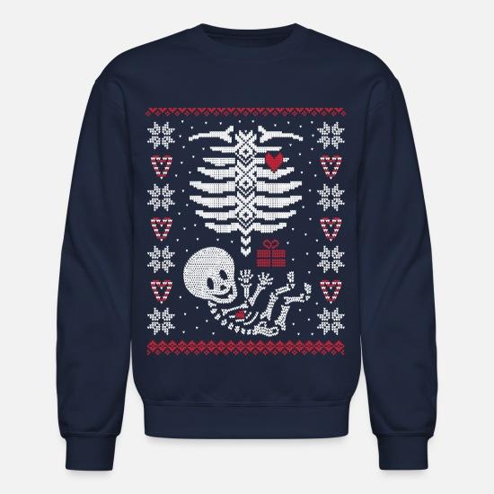 Pregnancy Christmas Sweater.Baby Belly Ugly Christmas Sweater Crewneck Sweatshirt Navy