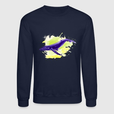 whale and green blob - Crewneck Sweatshirt