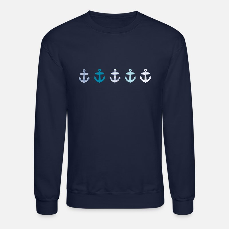 Nautical Hoodies & Sweatshirts - Nautical Blue Anchor Design - Unisex Crewneck Sweatshirt navy