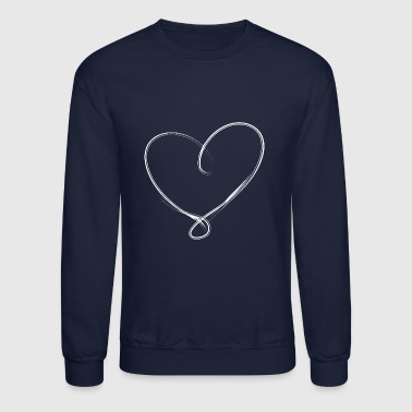 Curves A heart of fine white lines curving tip - Crewneck Sweatshirt