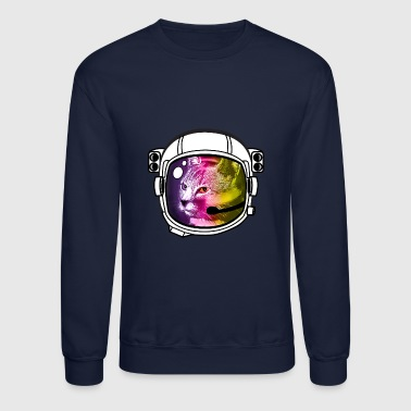 astro rainbow cat Helmet Space sci-Fi Nerd nasa - Crewneck Sweatshirt