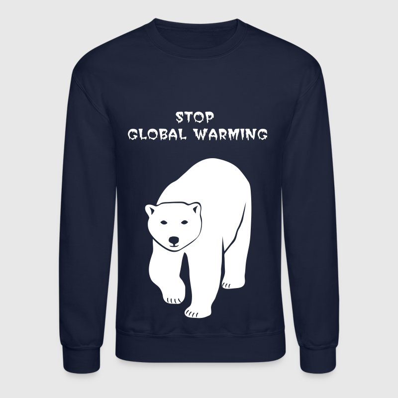 polar bear ice black white penguin knut climate change stop global warming - Crewneck Sweatshirt