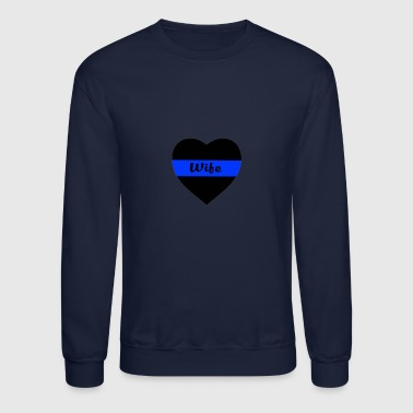 Police Officer's wife blue line heart - Crewneck Sweatshirt