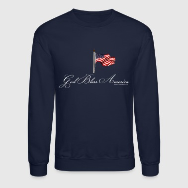 God Bless America with Flag, White - Crewneck Sweatshirt