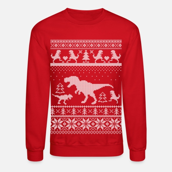 Christmas Hoodies & Sweatshirts - T-Rex Christmas - Unisex Crewneck Sweatshirt red
