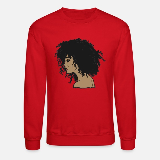 Girl Hoodies & Sweatshirts - My Afro - Natural Hair - Afrocentric Gift - Unisex Crewneck Sweatshirt red