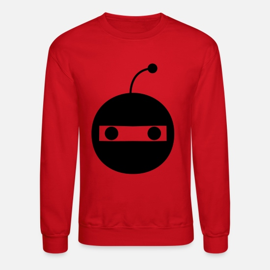 Weird Hoodies & Sweatshirts - funny little robot mech face staring out at you - Unisex Crewneck Sweatshirt red