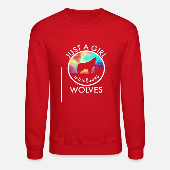 Birthday Hoodies & Sweatshirts - Wolf Howling at Moon Shirt - Just A Girl Who Loves Wolves - Unisex Crewneck Sweatshirt red