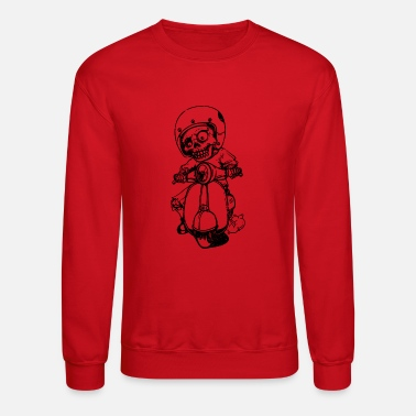 Vehicle Funny Skeleton riding a motorbike - Unisex Crewneck Sweatshirt