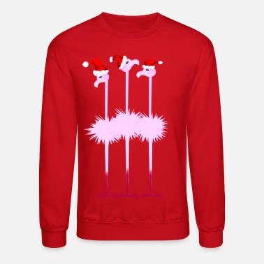 Three Christmas Flamingos  - Crewneck Sweatshirt