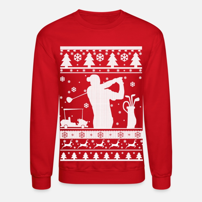 Ugly Hoodies & Sweatshirts - Golf Ugly Christmas - Unisex Crewneck Sweatshirt red